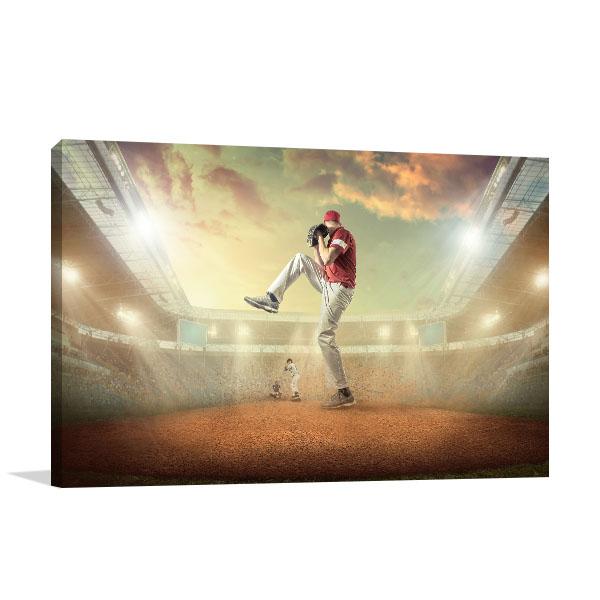 Baseball Player Print Art Canvas