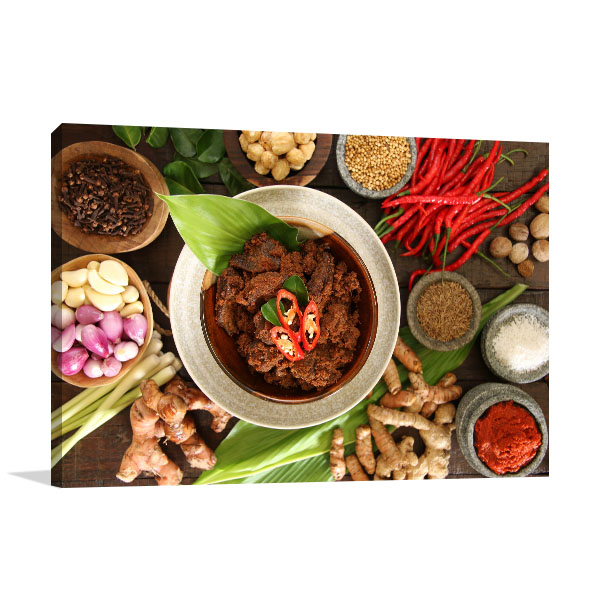 Beef Rendang Art Print Top View Wall Picture