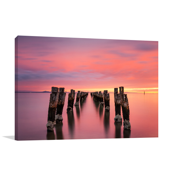 Bellarine Peninsula Canvas Print Jetty at Dusk Wall Photo