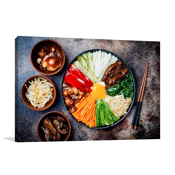 Bibimbap Art Print Top View Photo Artwork