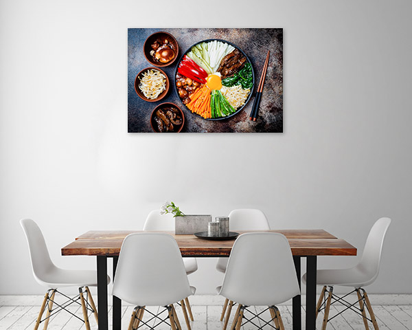 Bibimbap Art Print Top View Canvas Photo