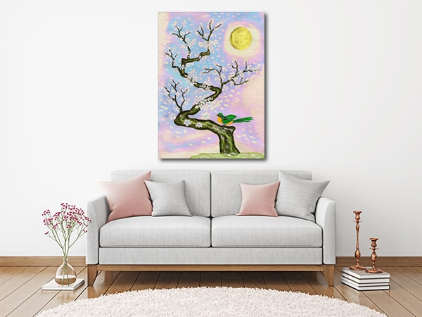 Bird On Branch Art Print on the Wall