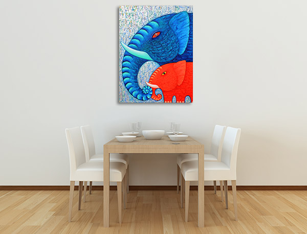 Blue And Red Elephants Artwork