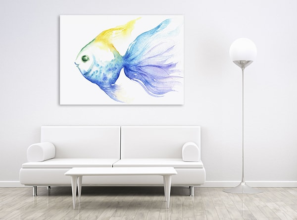 Blue Fish Wall Art Print on the Wall