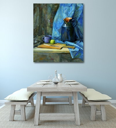 Blue Vase Wall Art Print on the Wall