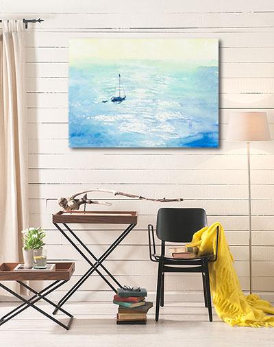 Boat at the Sea Prints Canvas