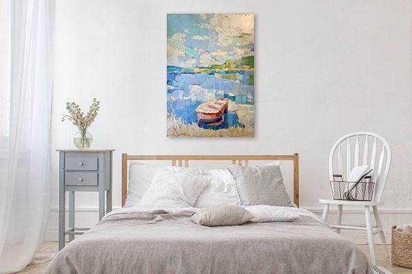 Boat In Blue Lake Canvas Art