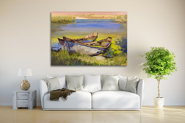 Boat On Lake Artwork