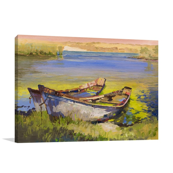 Boat On Lake Art Prints