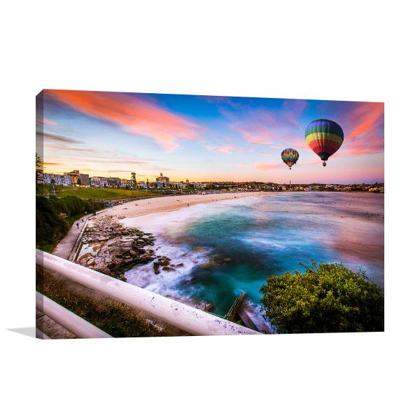 Bondi Beach Art Print Hot Air Balloon Canvas Photo Print