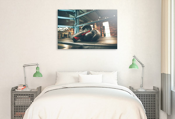 Boxing Gloves Art Print on Ring Photo Wall