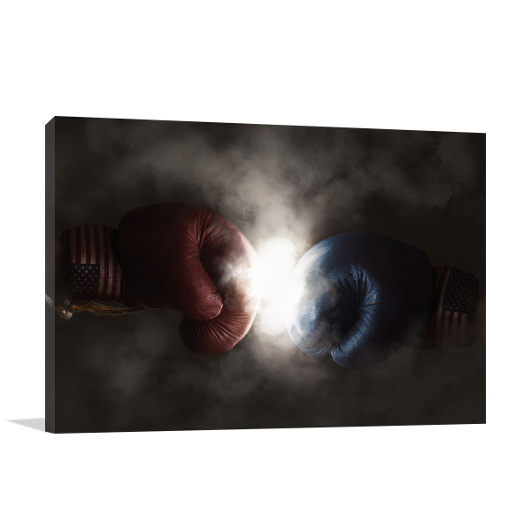 Boxing Gloves Art Print Smoky Background Canvas Wall