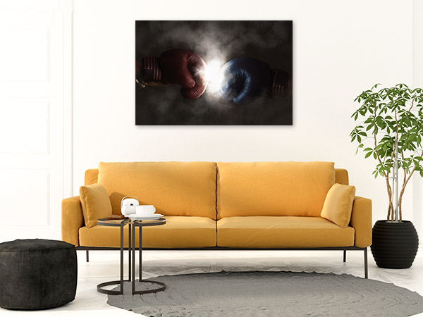 Boxing Gloves Art Print Smoky Background Wall Canvas