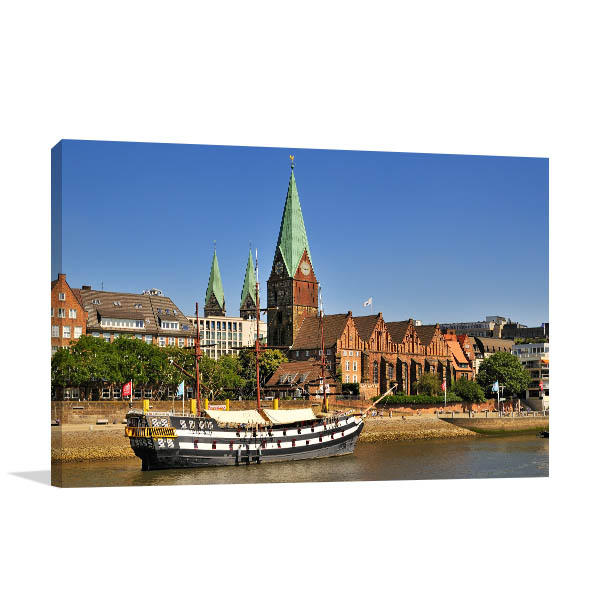 Bremen Art Print Town Centre Artwork Picture
