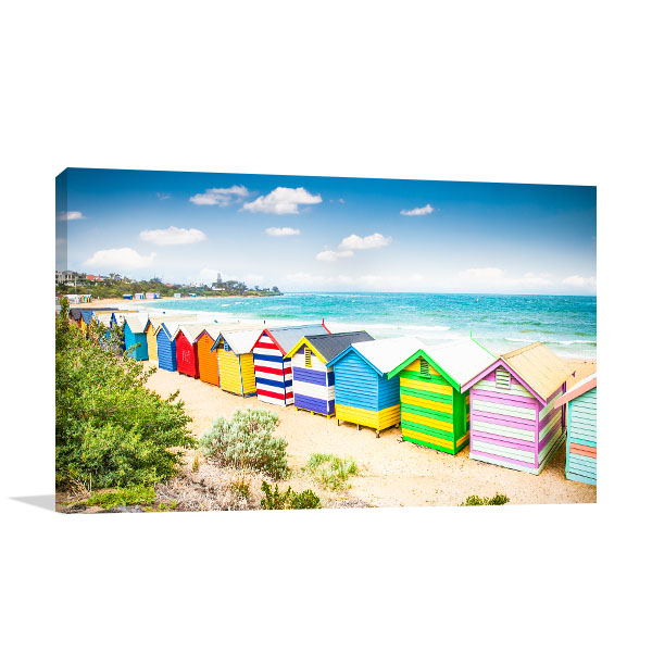 Brighton Beach Canvas Art Print Bathing House Wall Art Photo Print