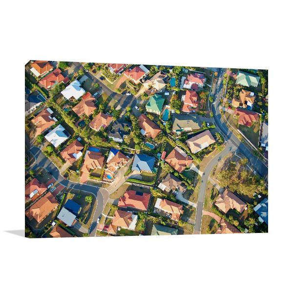 Brisbane Art Print Village Aerial View Photo Wall