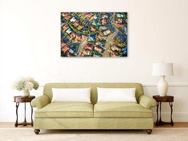 Brisbane Art Print Village Aerial View Artwork Wall