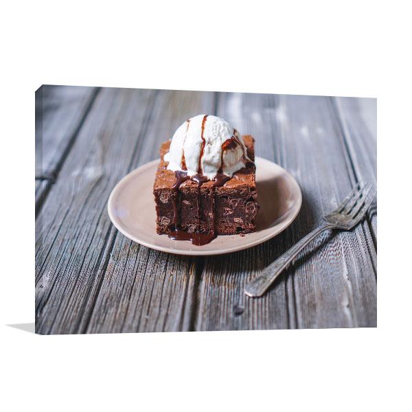 Brownie and Vanilla Ice Cream Picture Art