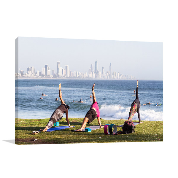 Burleigh Heads Art Print Yoga Practitioners Wall Photo