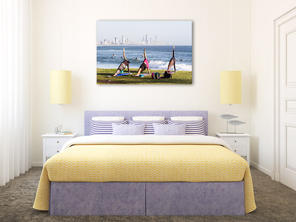Burleigh Heads Art Print Yoga Practitioners Picture Canvas