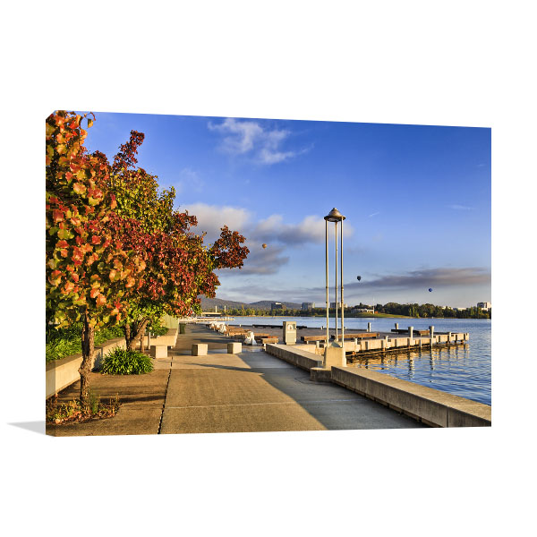 Burley Griffin Lake Art Print Waterfront Artwork Canvas