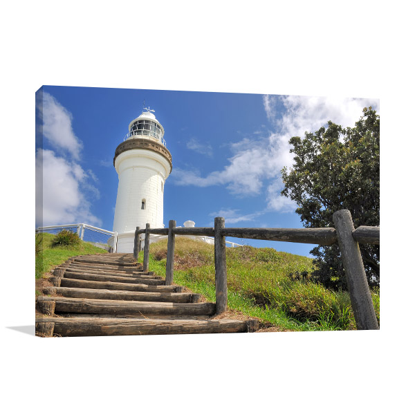 Byron Bay Lighthouse Canvas Print Wooden Stairs Photo Wall