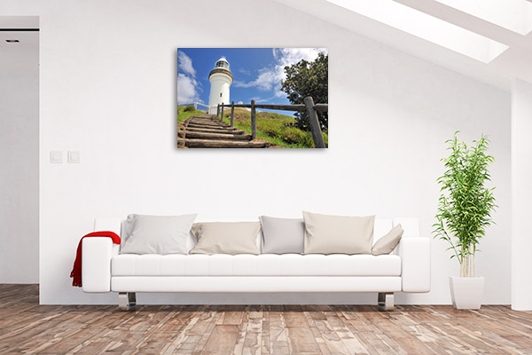 Byron Bay Lighthouse Canvas Print Wooden Stairs Artwork Photo