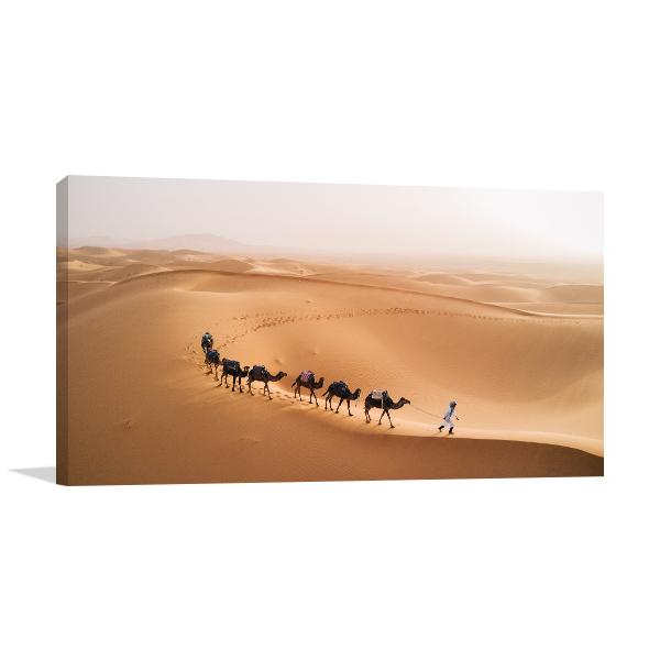 Camel Caravan in Desert Picture Print