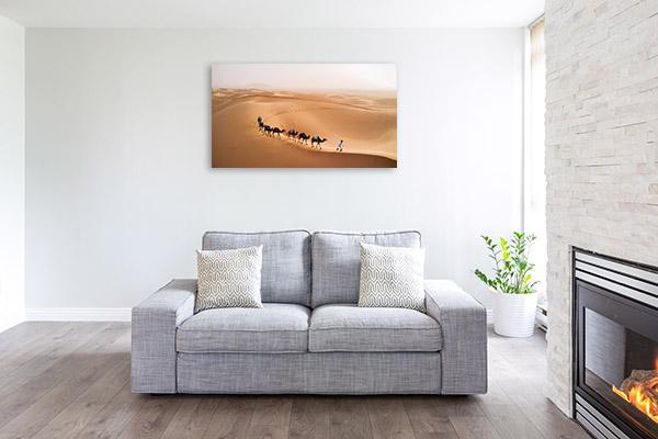 Camel Caravan in Desert Print Picture
