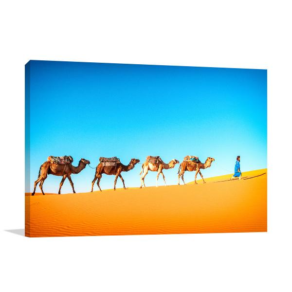 Camels in Desert Artwork Canvas
