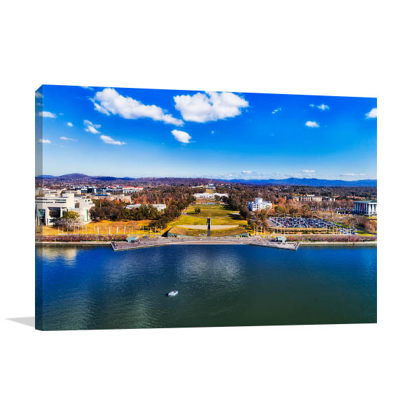 Canberra Art Print Lake Burley Griffin Aerial Picture Artwork