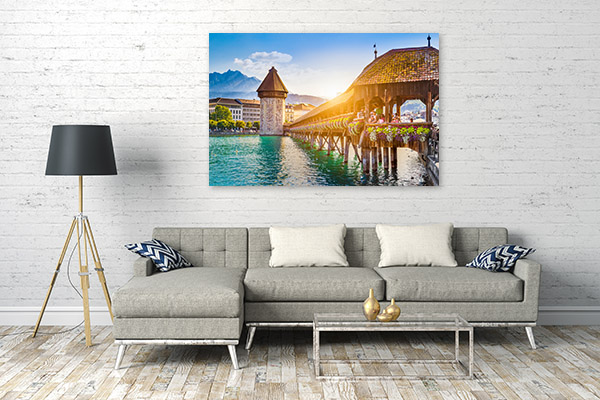 Chapel Bridge Art Print Lucerne Canvas Artwork