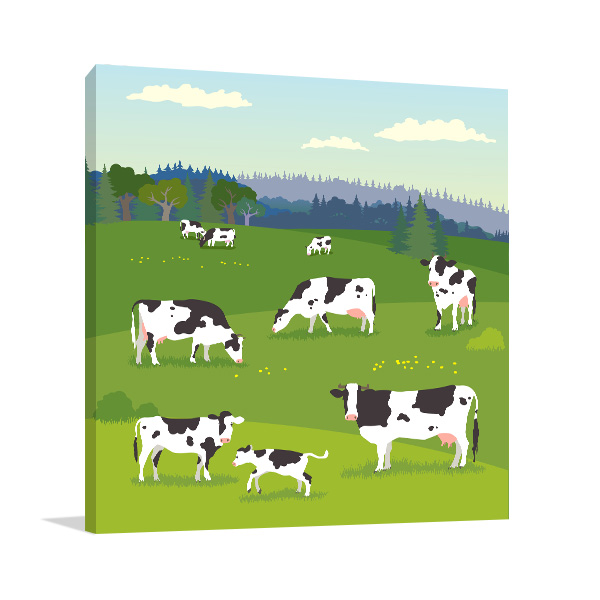 Cows Illustration Artwork Wall