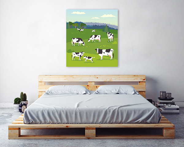 Cows Illustration Canvas Artwork