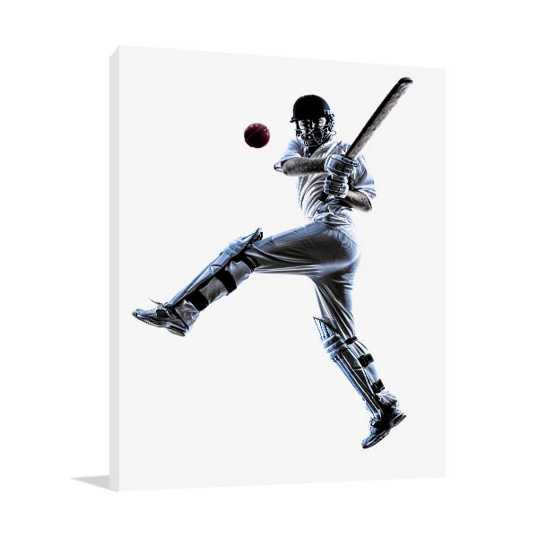 Cricket Player Art Print Black and White Canvas Photo