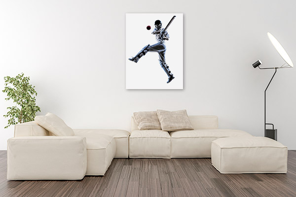 Cricket Player Art Print Black and White Wall Picture