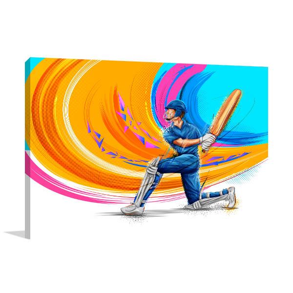 Cricket Player Illustration Canvas Art Prints