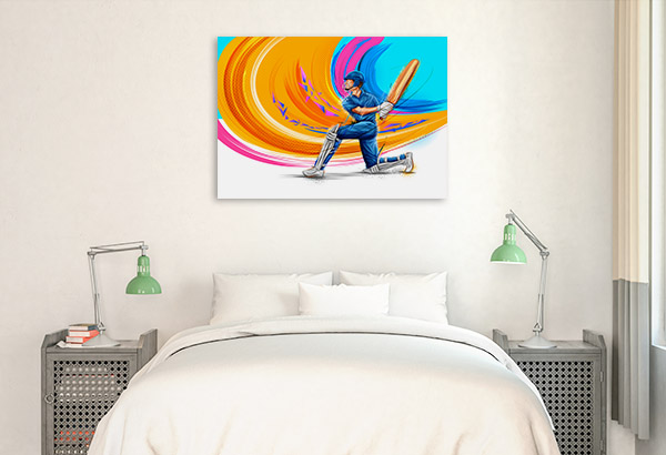 Cricket Player Illustration Canvas Wall Art