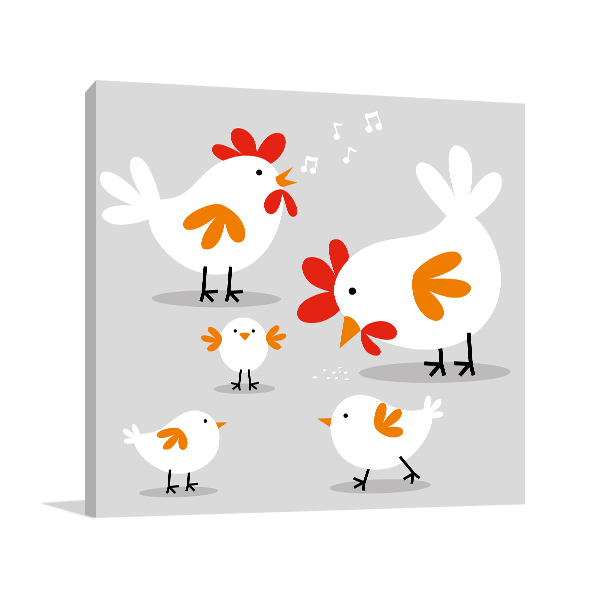 Cute Chicken Family Wall Artwork