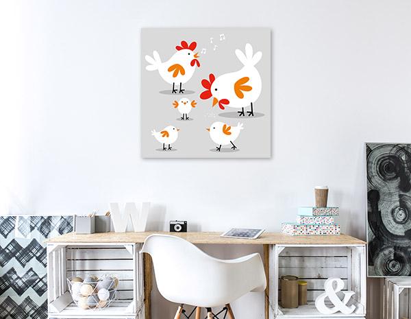Cute Chicken Family Wall Art Photo Print
