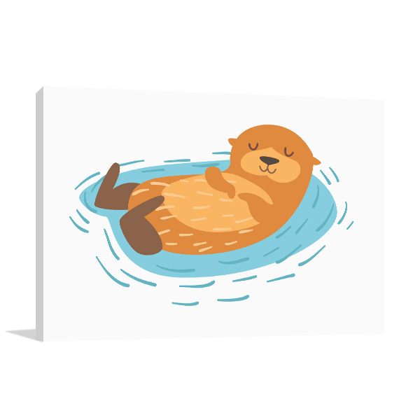 Cute Otter Illustration Photo Wall