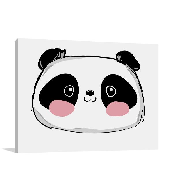 Cute Panda Illustration Wall Art