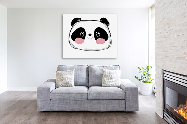 Cute Panda Illustration Artwork Wall