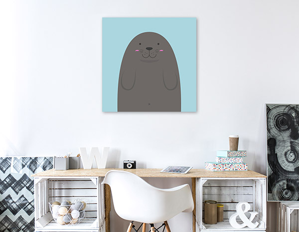 Cute Sea Lion Illustration Wall Canvas