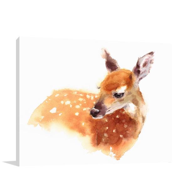 Deer in Watercolour Artwork Canvas