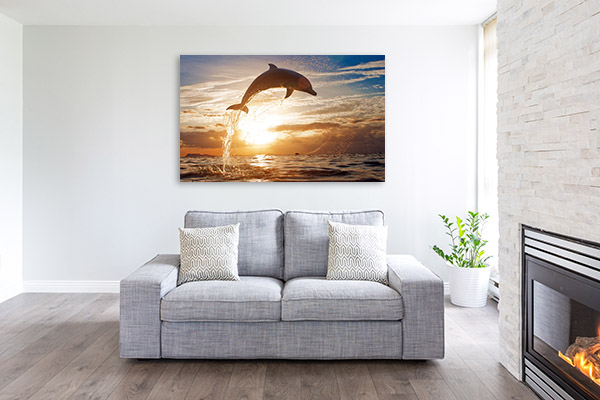 Dolphin Surfacing Sunset Picture Art