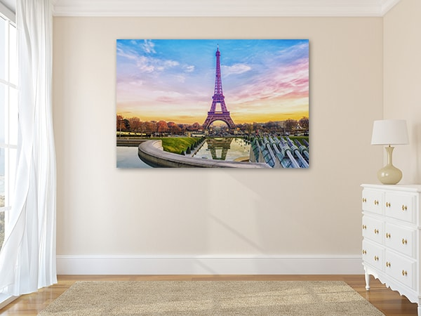 Eifffel Tower Sunset Print Art Canvas on the Wal