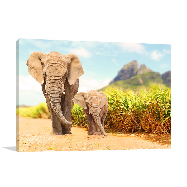 Elephant and Calf Wall Art Print