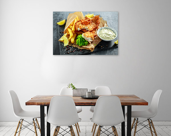Fish and Chips Print Art Canvas