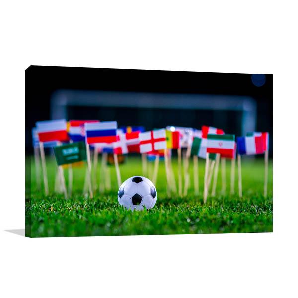 Football with International Flags Photo Art